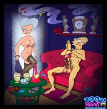 Famous cartoon girls from Futurama - Sex Fantasy of Professor Hubert Farnsworth